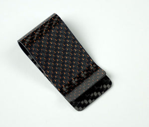 Money Clip - 2x2 with Metallic Copper Lacing Carbon Fiber