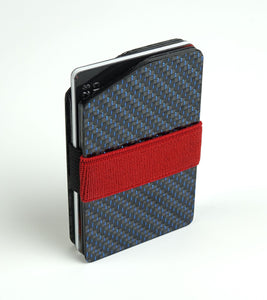 MagWallet - 2x2 with Blue Metallic Lacing Carbon Fiber