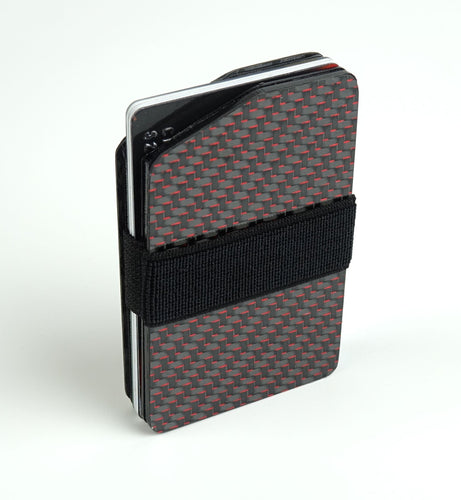 MagWallet - 2x2 with Red Metallic Lacing Carbon Fiber