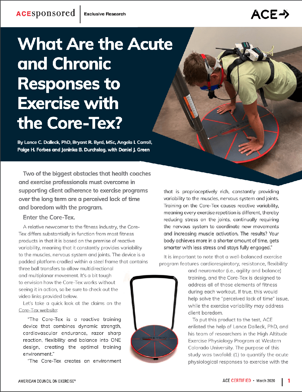 American Council on Exercise article on acute and chronic responses to exercise with the Core-Tex