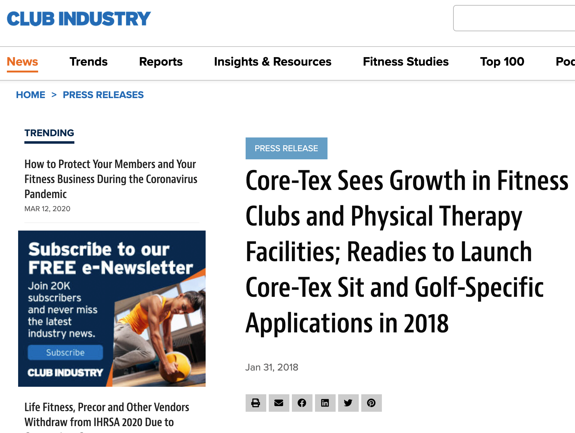 CLUB INDUSTRY MAGAZINE, JANUARY 2018: Core-Tex Sees Growth in Fitness Clubs and Physical Therapy Facilities; Readies to Launch Core-Tex Sit and Golf-Specific Applications in 2018