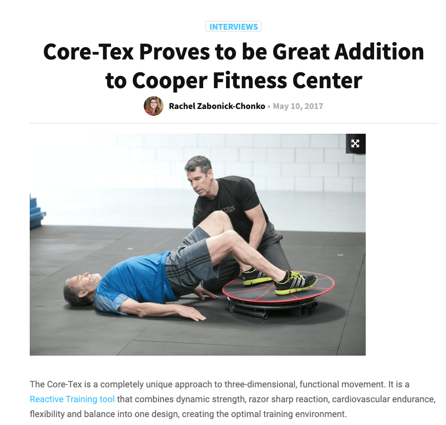 CLUB SLOUTIONS MAGAZINE, MAY 2017: Core-Tex Proves to be Great Addition to Cooper Fitness Center