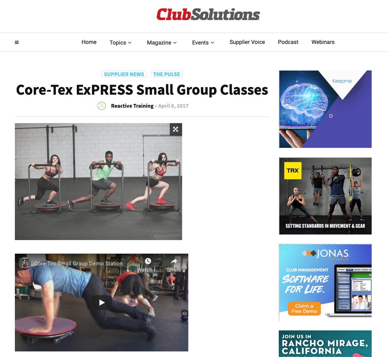 CLUB SLOUTIONS MAGAZINE, APRIL 2017: Core-Tex ExPRESS Small Group Classes