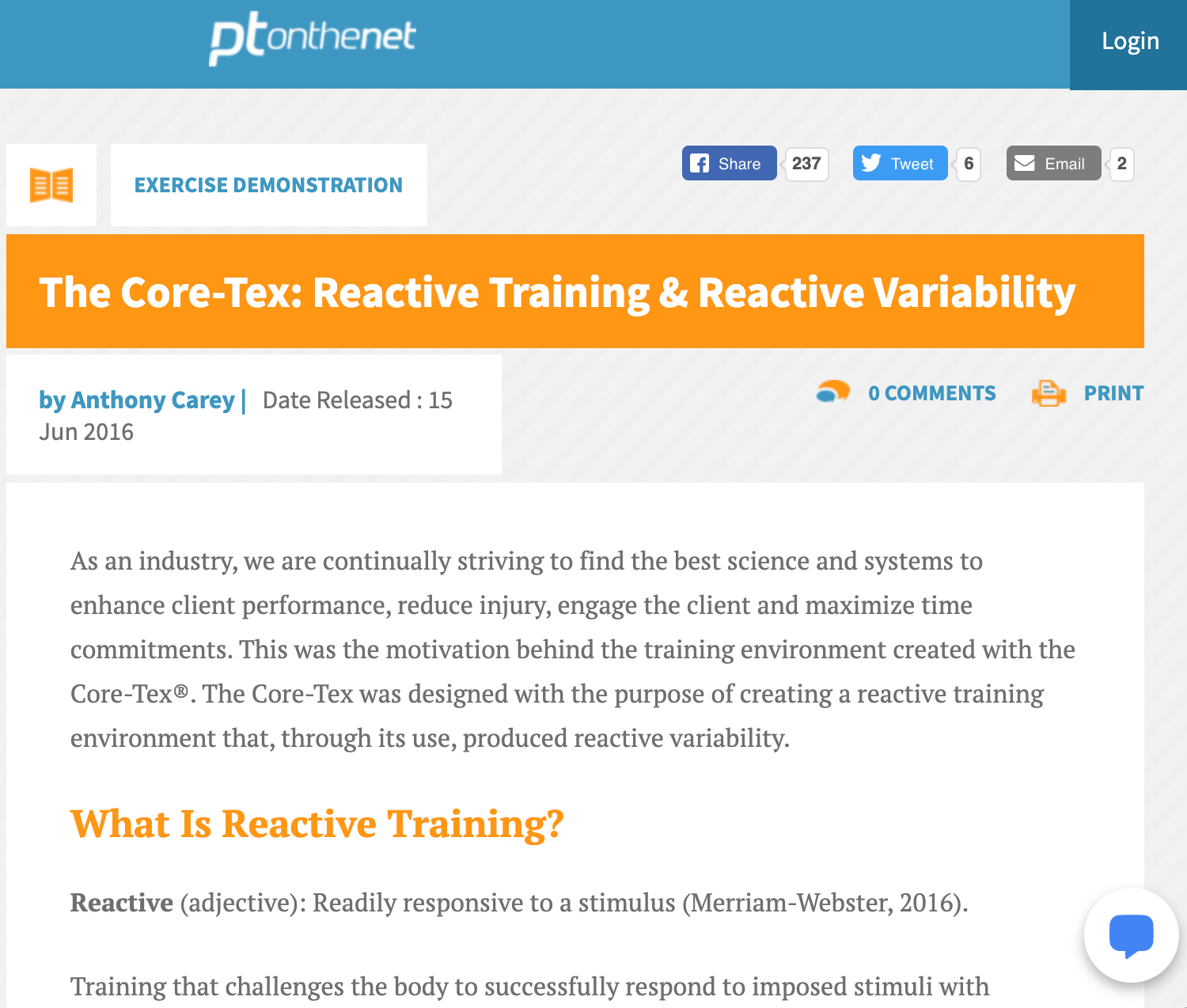 PTONTHENET.COM, JUNE 15, 2016: The Core-Tex: Reactive Training & Reactive Variability