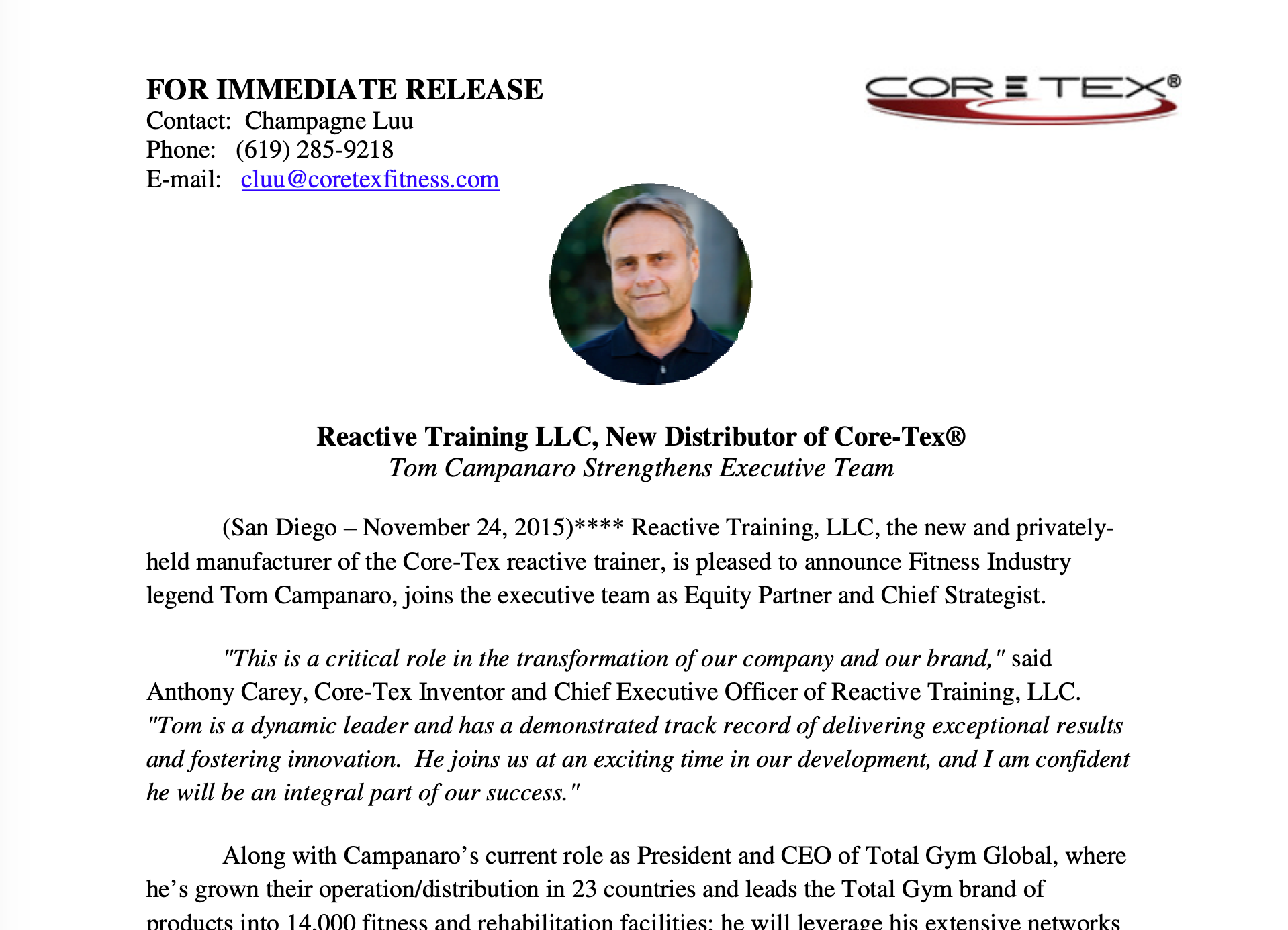 COMPANY PRESS RELEASE, NOVEMBER 24, 2015: Tom Campanaro Joins Reactive Training, LLC