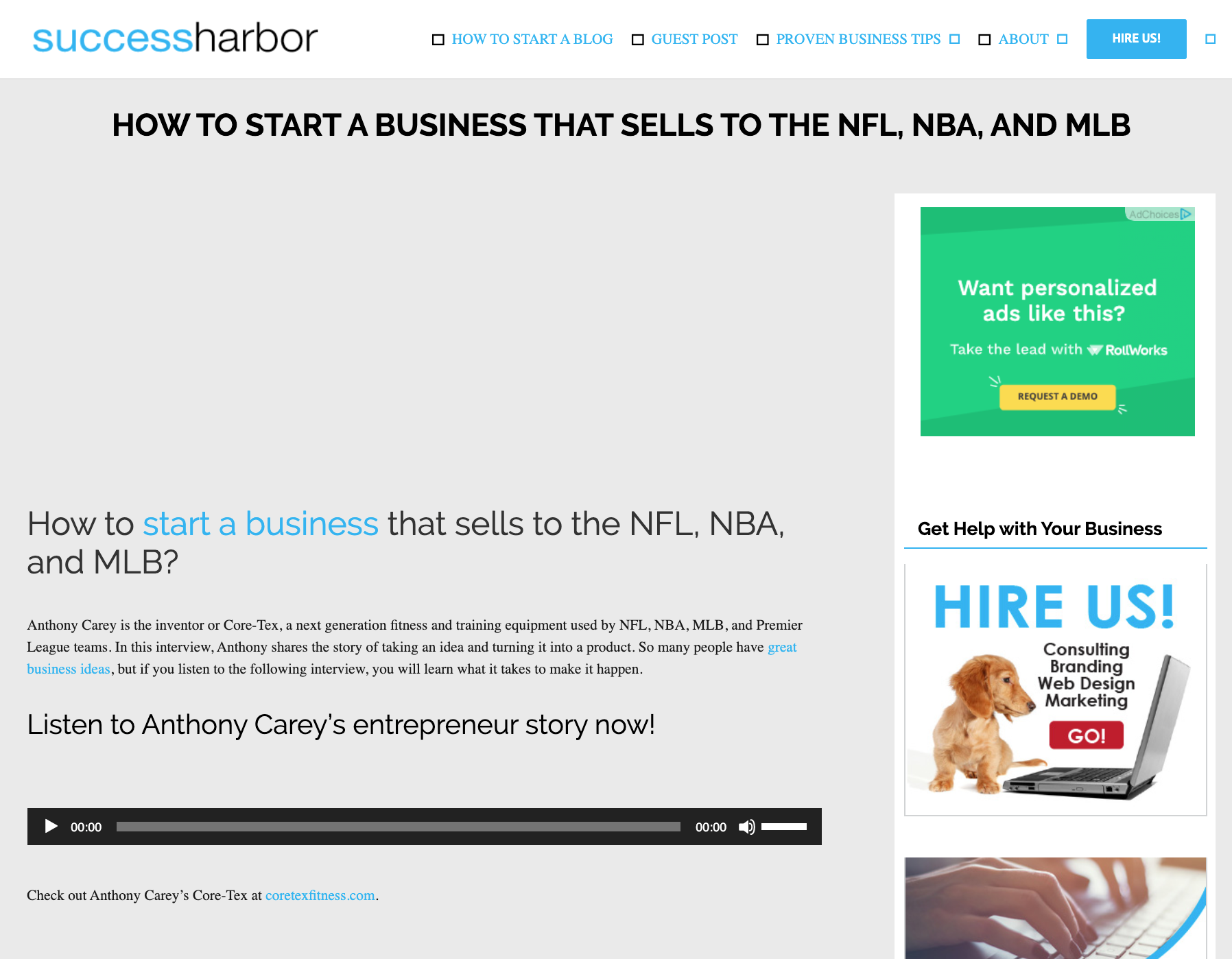 SUCCESSHARBOR.COM PODCAST WITH GEARGE MESZAROS, MAY 15, 2014: How To Get NFL MLB NBA And Premier League Teams Buy Your Product with Anthony Carey