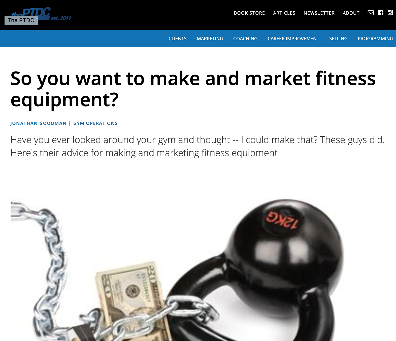 THE PTDC (PERSONAL TRAINING DEVELOPMENT CENTER) BLOG, JANUARY 9, 2012: So you want to make and market fitness equipment?