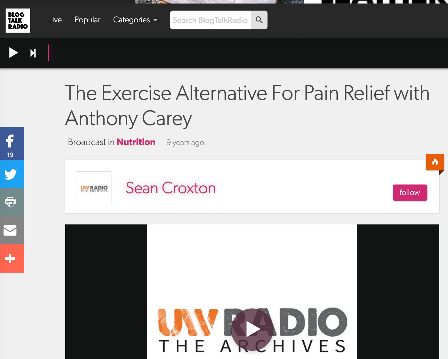 UNDERGROUND WELLNESS PODCAST JULY 9, 2010: The Pain Free Program With Anthony Carey