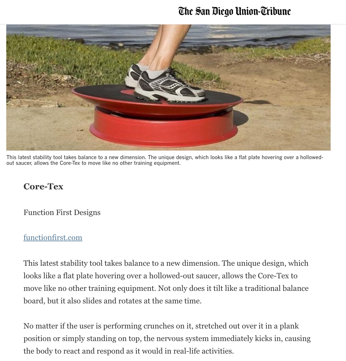 SAN DIEGO UNION TRIBUNE APRIL 6, 2010: Equipment adds muscle to cross-training workouts
