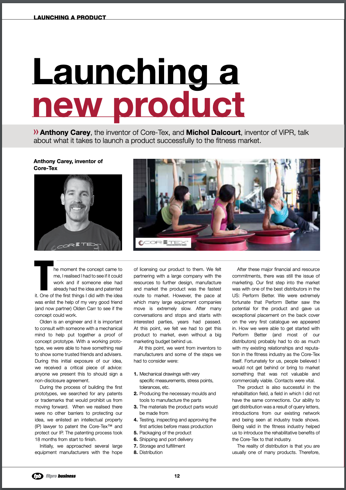 FITPRO BUSINESS MAGAZINE, SPRING 2013: Launching a New Product
