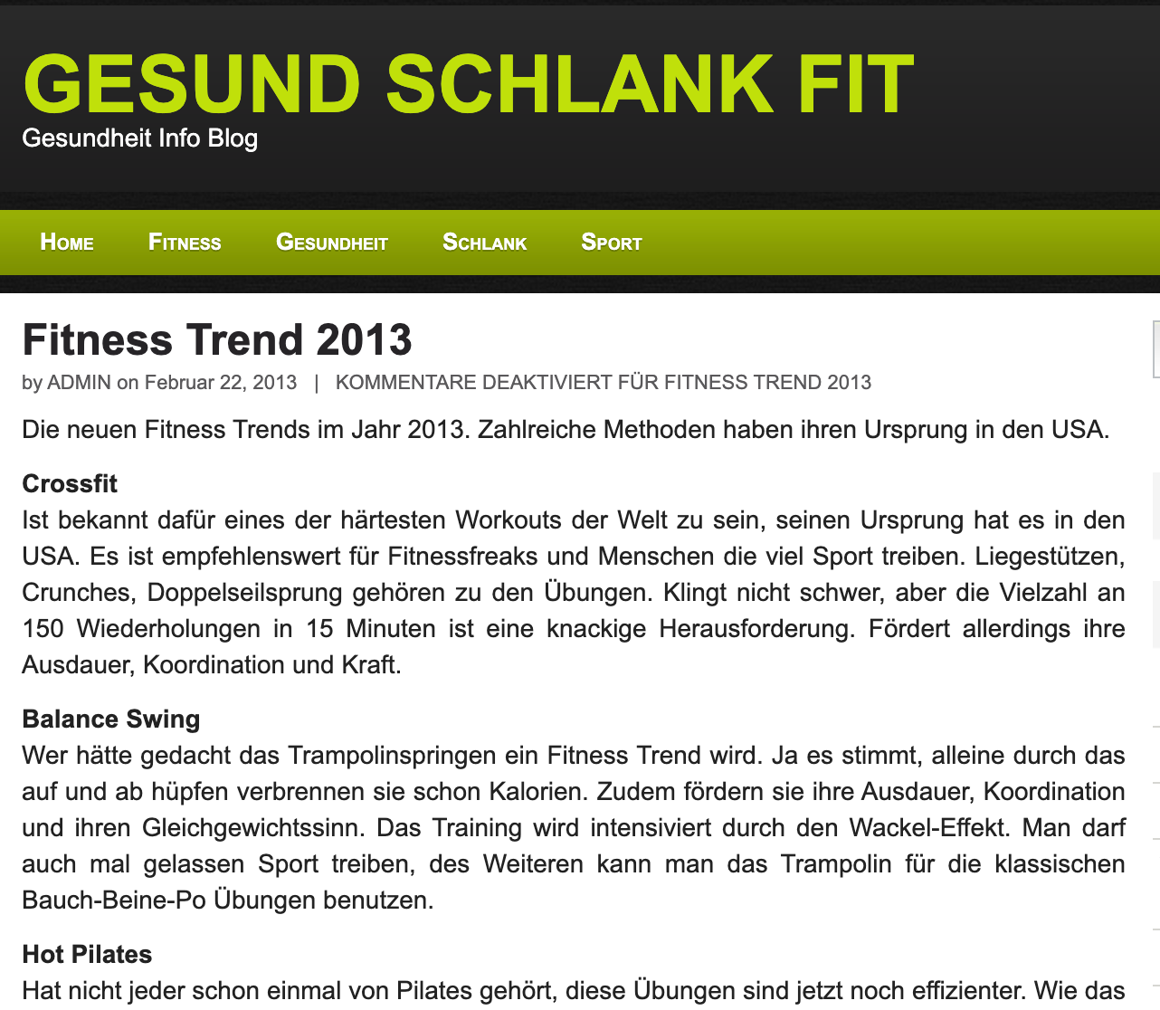 GESUND SCHLANK FIT, FEBRUARY 22, 2013: Fitness Trend 2013