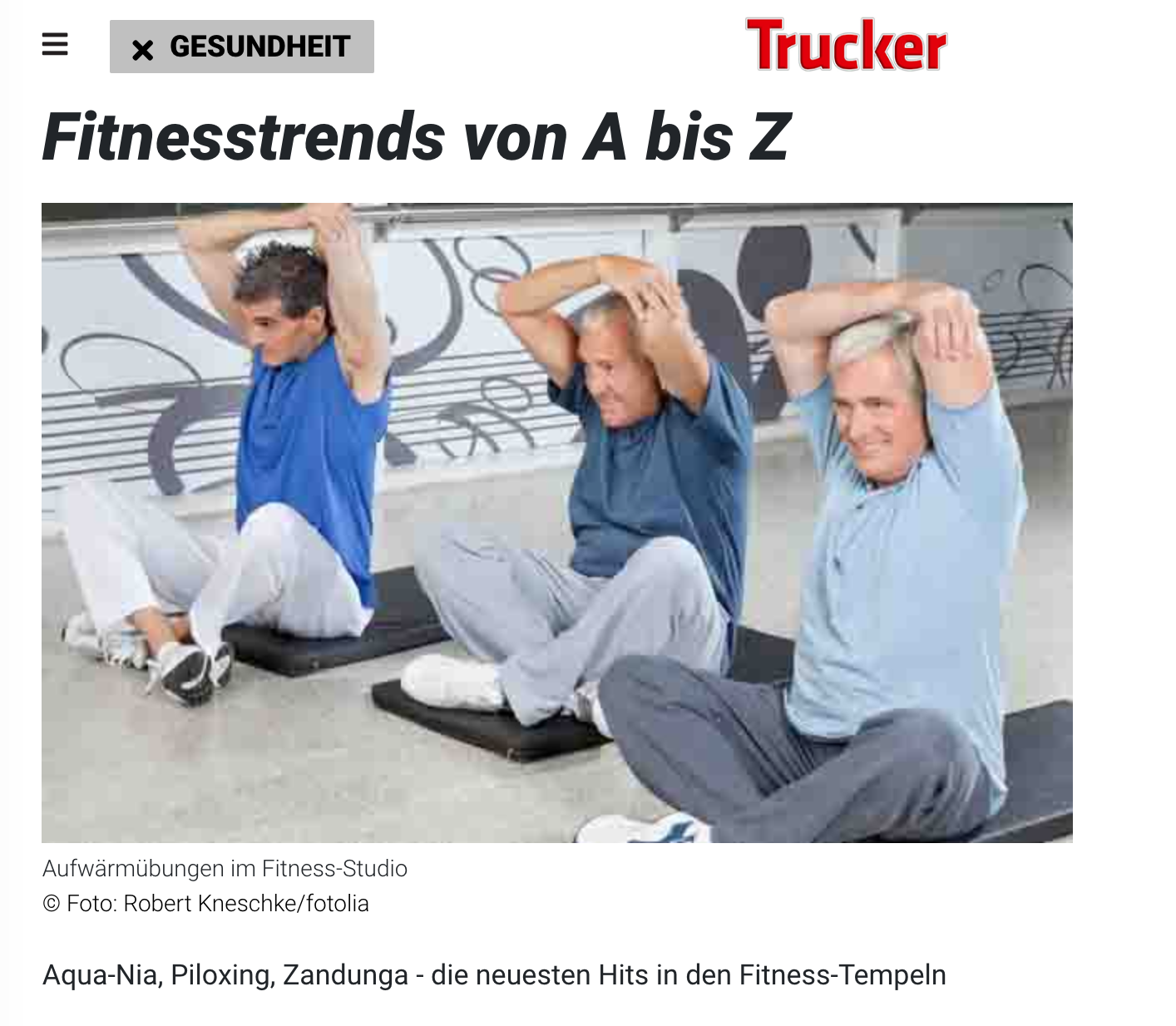 TRUCKER MAGAZINE FEBRUARY 13, 2013: Fitnesstrends von A bis Z