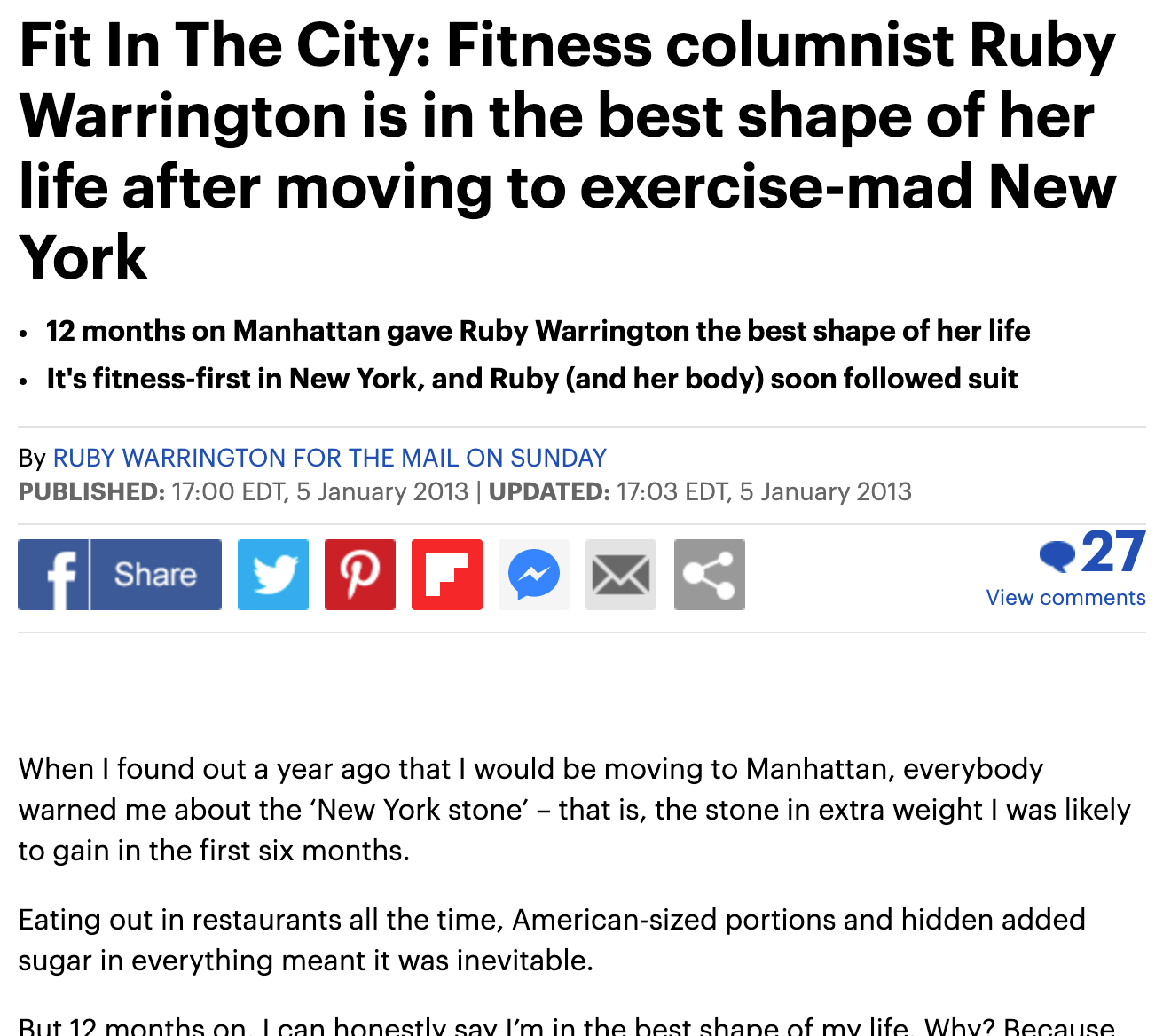 THE DAILY MAIL UK, JANUARY 5, 2013: Fit In The City: Fitness columnist Ruby Warrington is in the best shape of her life after moving to exercise-mad New York