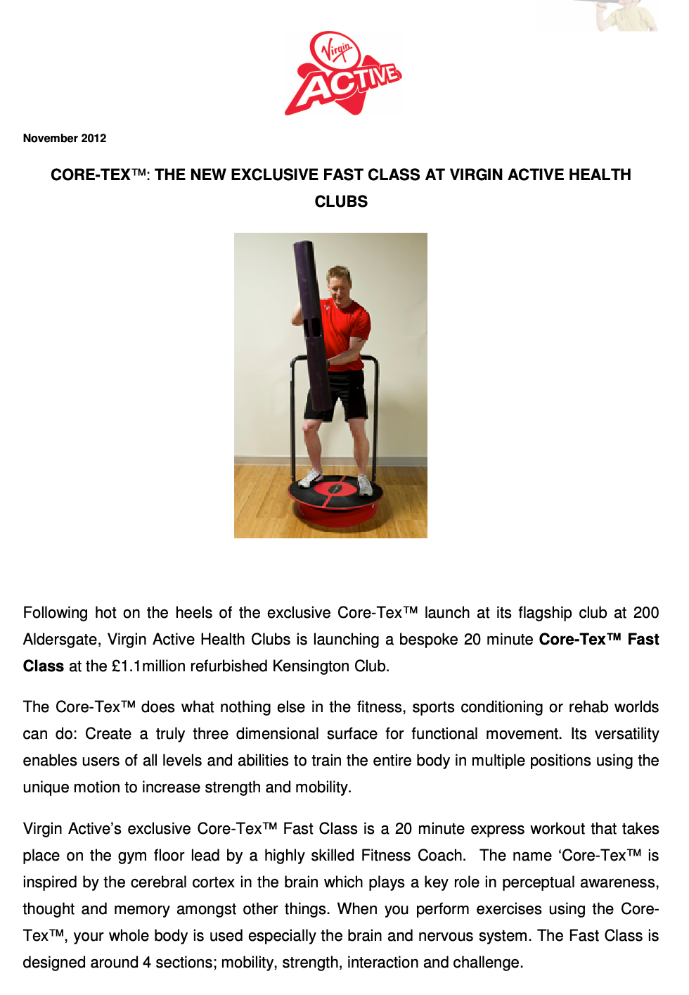 VIRGIN ACTIVE HEALTH CLUBS PRESS RELEASE, NOVEMEBER 2012: CORE-TEX : The New Exclusive Fast Class at Virgin Active Health Clubs