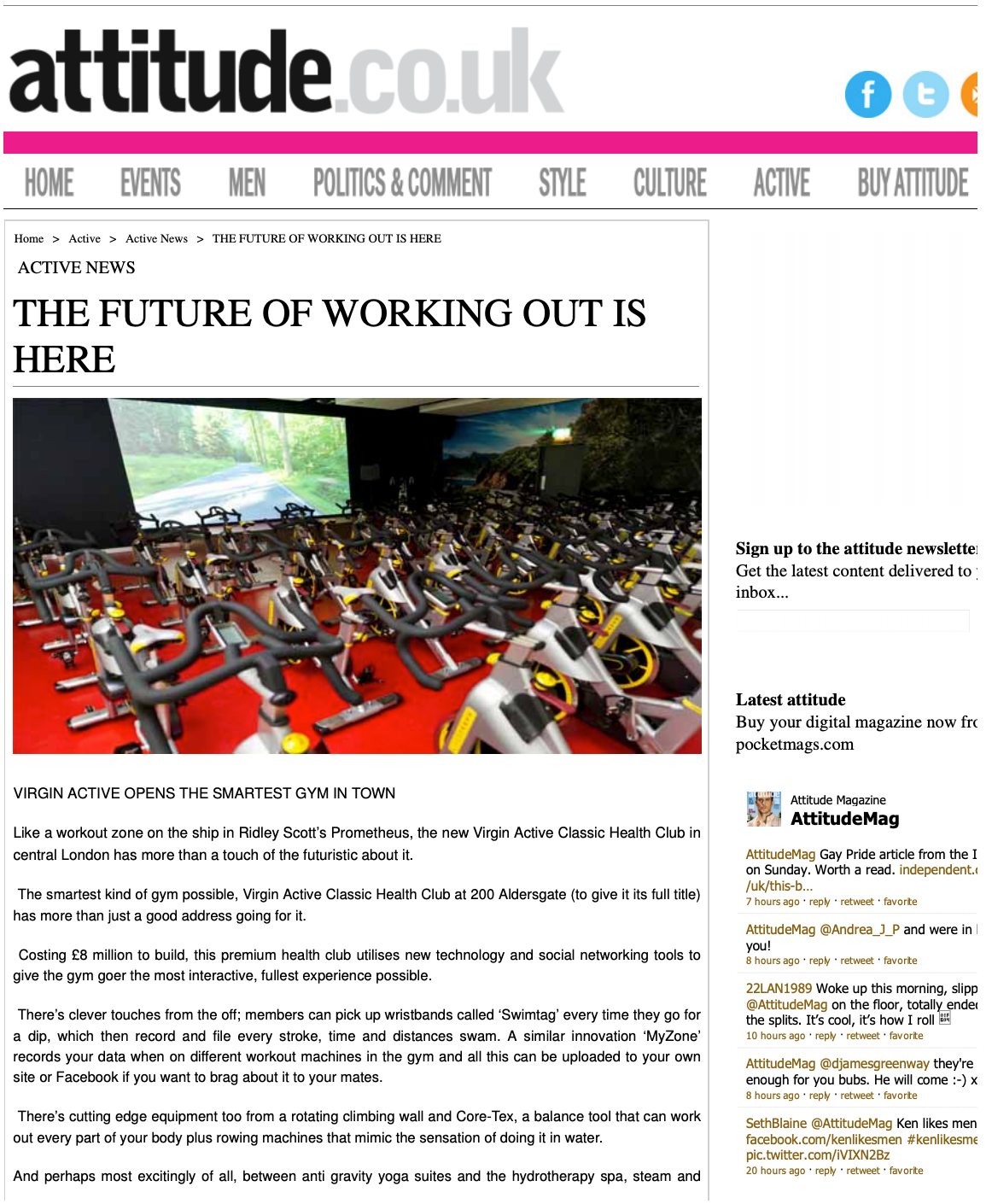 ALTITUDE MAGAZINE UK, JUNE 2012: The Future of Working Out is Here