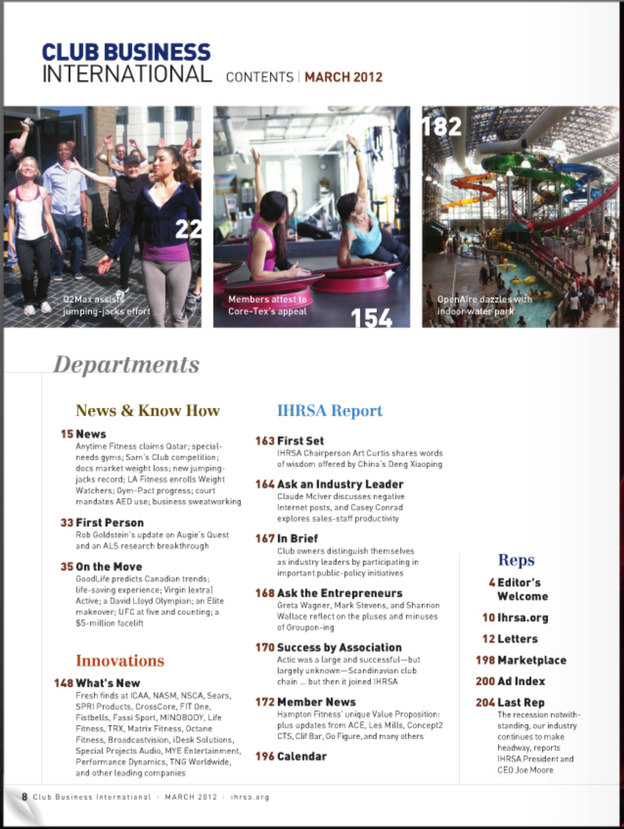 CLUB BUSINESS INTERNATIONAL MAGAZINE, MARCH 2012: Innovations: Members Attest to Core-Tex's Appeal