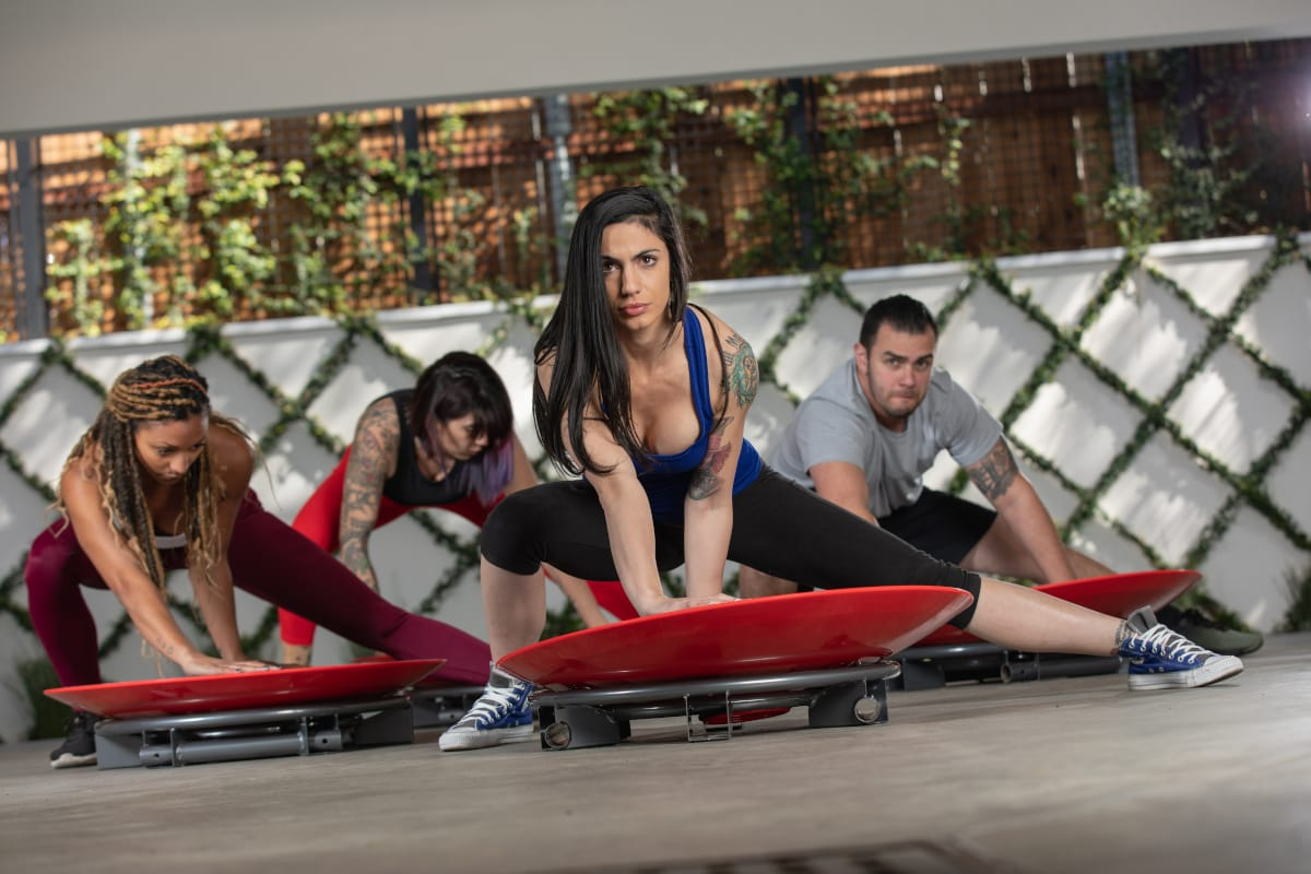 Group fitness class exercising using Core-Tex Fitness Reactive Trainer