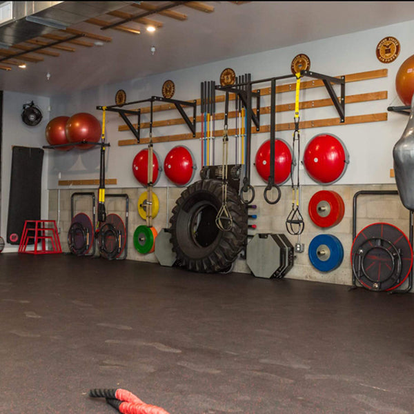 Core-tex Fitness Reactive Trainer discreetly stored in gym amongst other various workout equipment