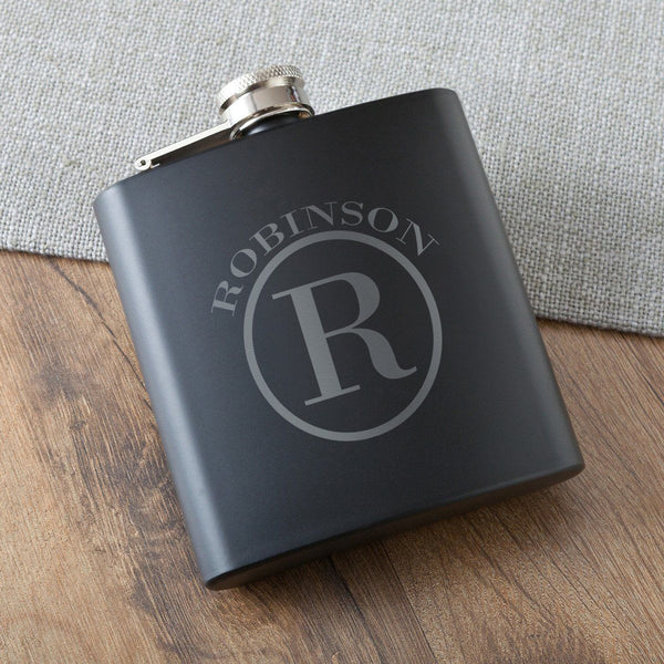 Monogrammed Black Matte Stainless Steel Groomsmen Flask