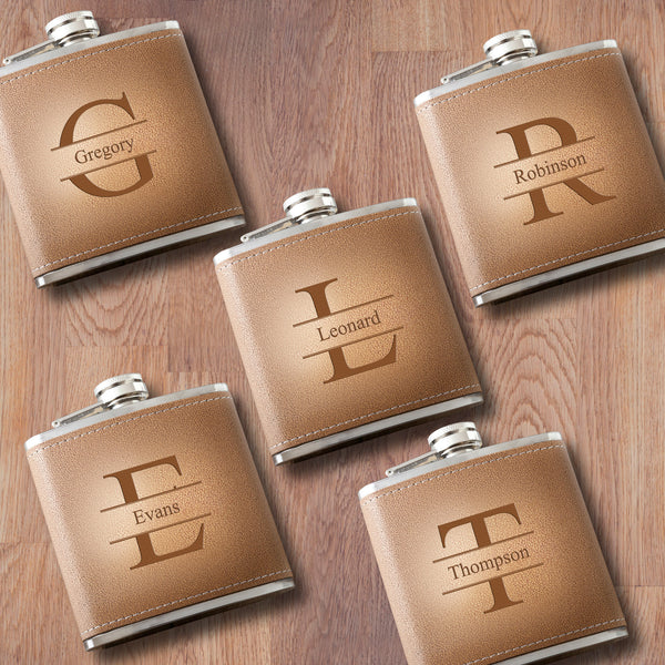 Personalized Set of 5 Engraved Tan Stitched-Hide Flask