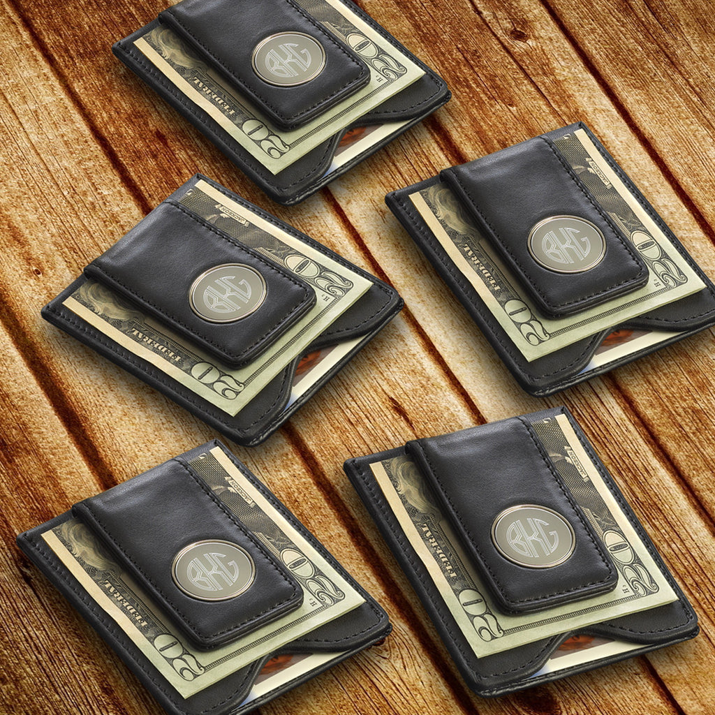 Set of 5 Personalized Leather Wallet and Money Clip