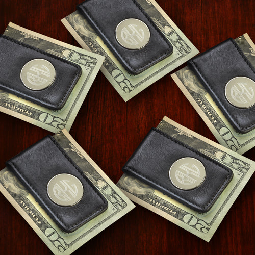Engraved Leather Magnetic Money Clip Set of 5 Groomsmen Gift