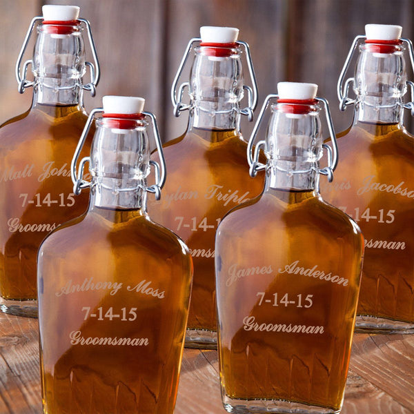 Set of 5 Groomsman Glass Flasks