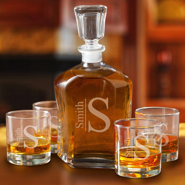 Monogrammed Whiskey Decanter and Low Ball Glass Set