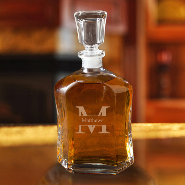 Monogrammed Whiskey Glass Decanter