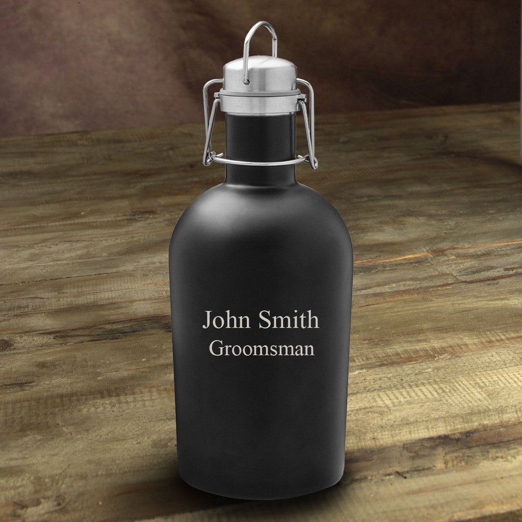 Personalized Black Matte Stainless Beer Growler