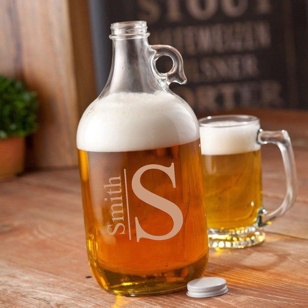 Monogram Design Glass Beer Growler