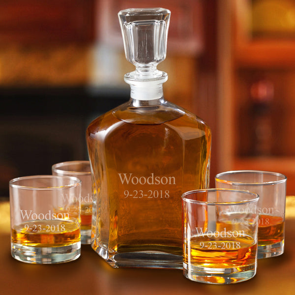 Monogrammed Whiskey Decanter and Low Ball Glass Set of 4