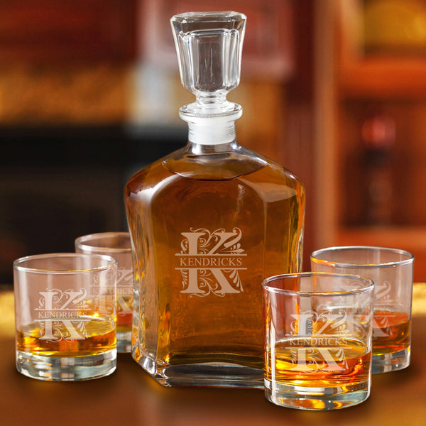 Monogrammed Whiskey Decanter Set with 4 Low Ball Glasses
