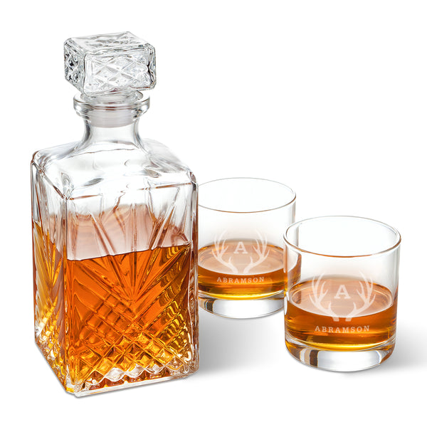 Personalized Square Whiskey Decanter with Stopper and 2 low ball Glass Set
