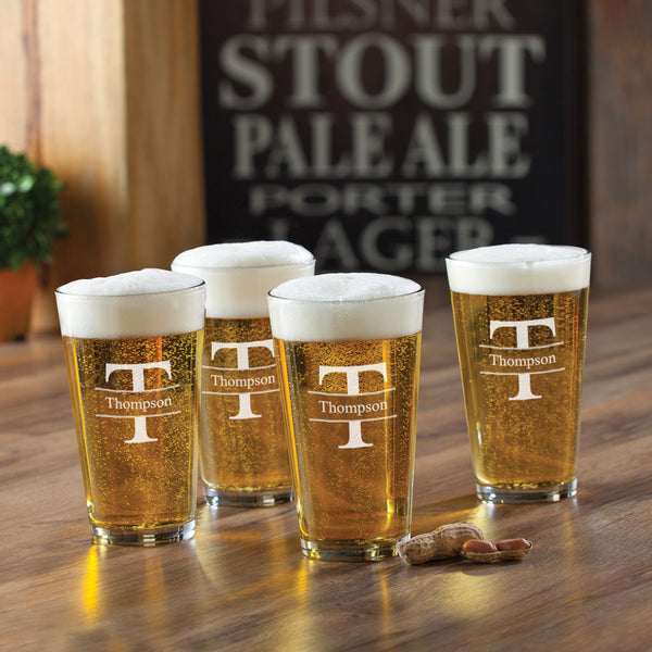Personalized Set of 4 16 oz. Pub Glasses