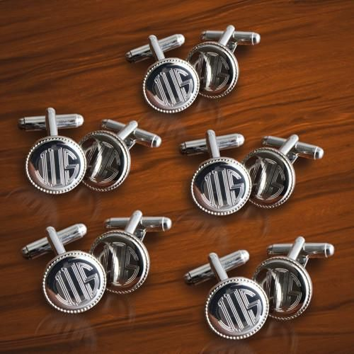 Personalized Set of 5 Silver Round Beaded Cufflinks