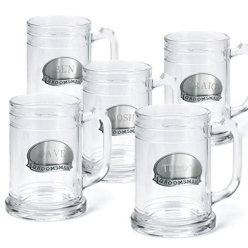 Set of Five Personalized Beer Mugs