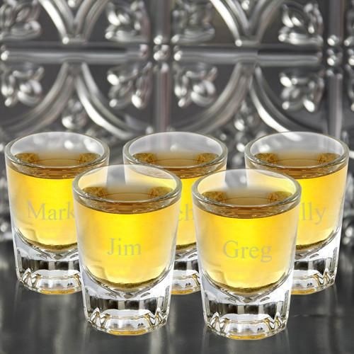 Engraved Set of 5 Distinctive Shot Glass