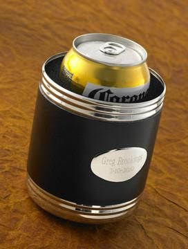 Personalized Set of 5 Black Leather Can Koozie