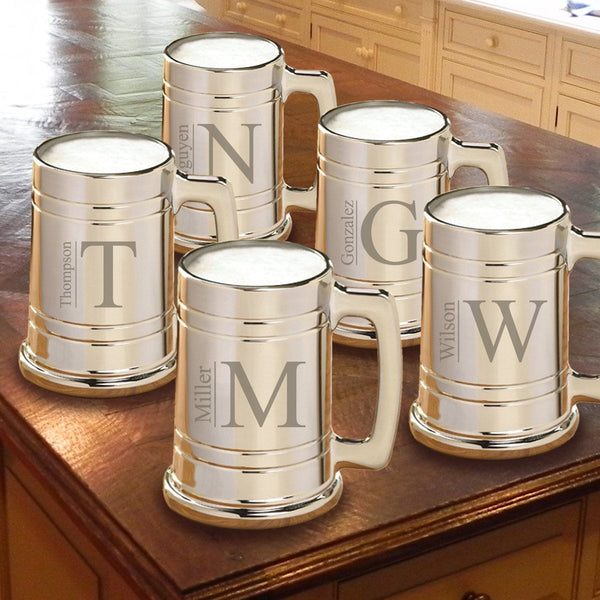 Monogrammed Gunmetal Beer Mug Set of 5 for Groomsmen
