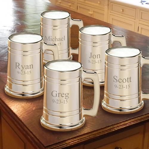 Personalized Gunmetal Beer Mug Set of 5 for Groomsmen