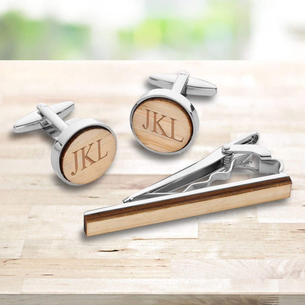 Personalized Bamboo Cufflinks & Tie Clip Set