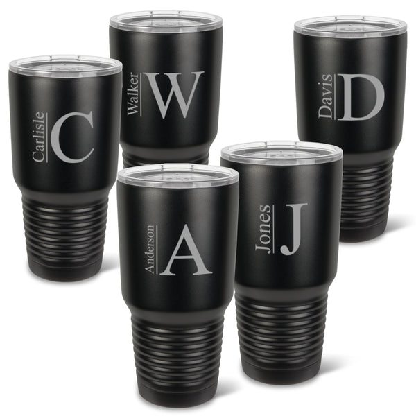 Monogrammed Húsavík Matte Black 30 oz. Double Wall Insulated Tumblers Set of 5