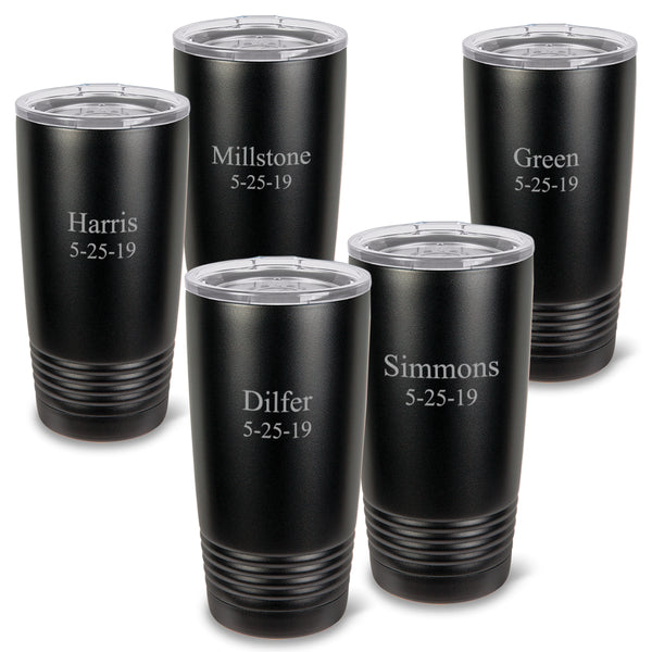 Monogrammed Matte Black 20 oz. Double Wall Insulated Tumblers Set of 5