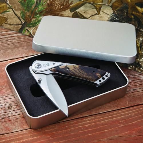Personalized Camo-Lock Back Knife