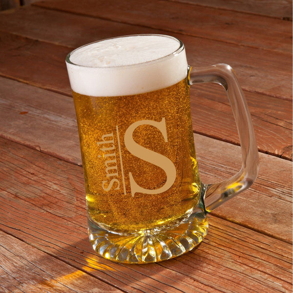 Monogrammed 25 oz. Beer Mug for Groomsmen