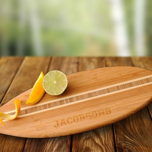Personalized Bamboo Surfboard Cutting Board