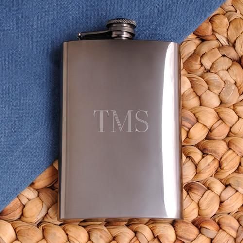 Engraved Gunmetal Flask for Groomsmen