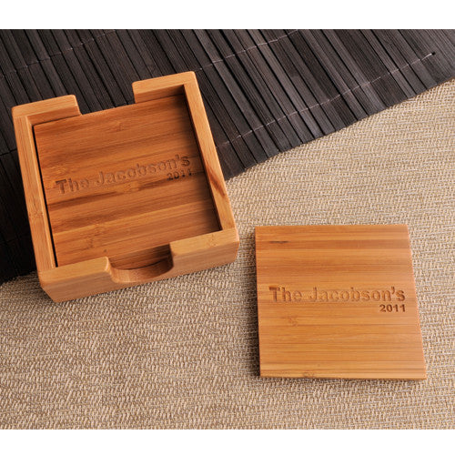 Engraved Bamboo Coaster Set