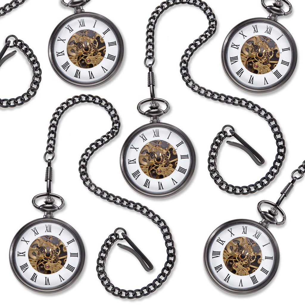 Gunmetal Gray Exposed Gears Pocket Watch - Set of 5